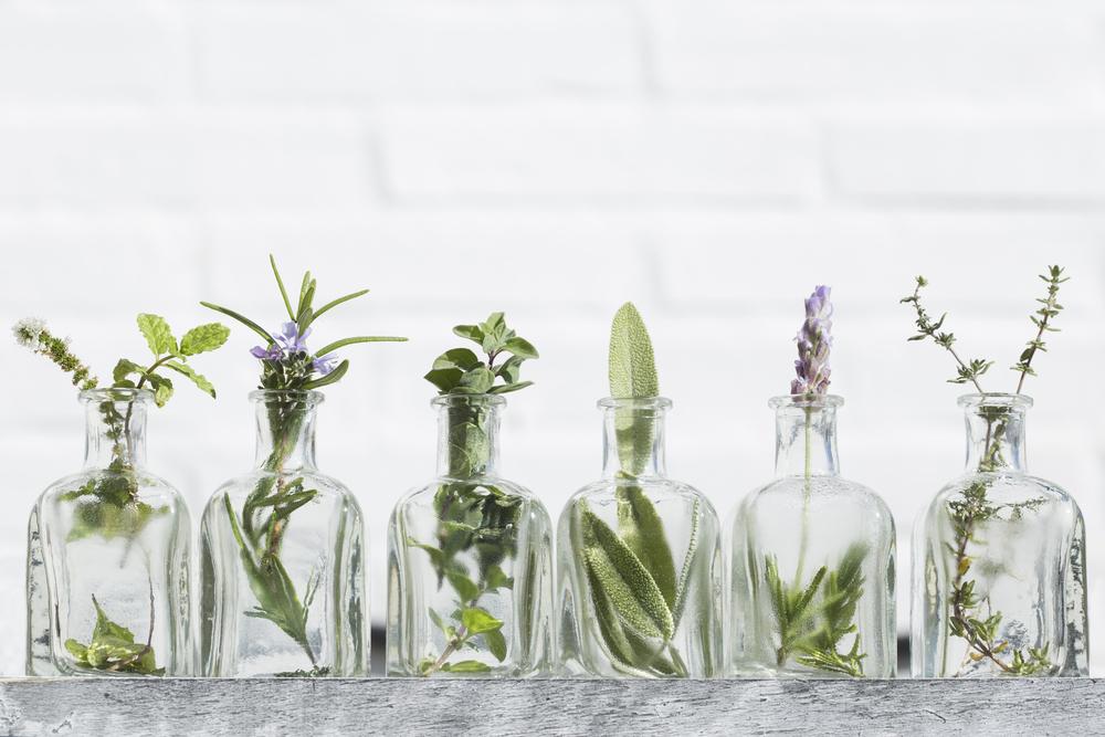 Herbs in Essential Oil Bottles