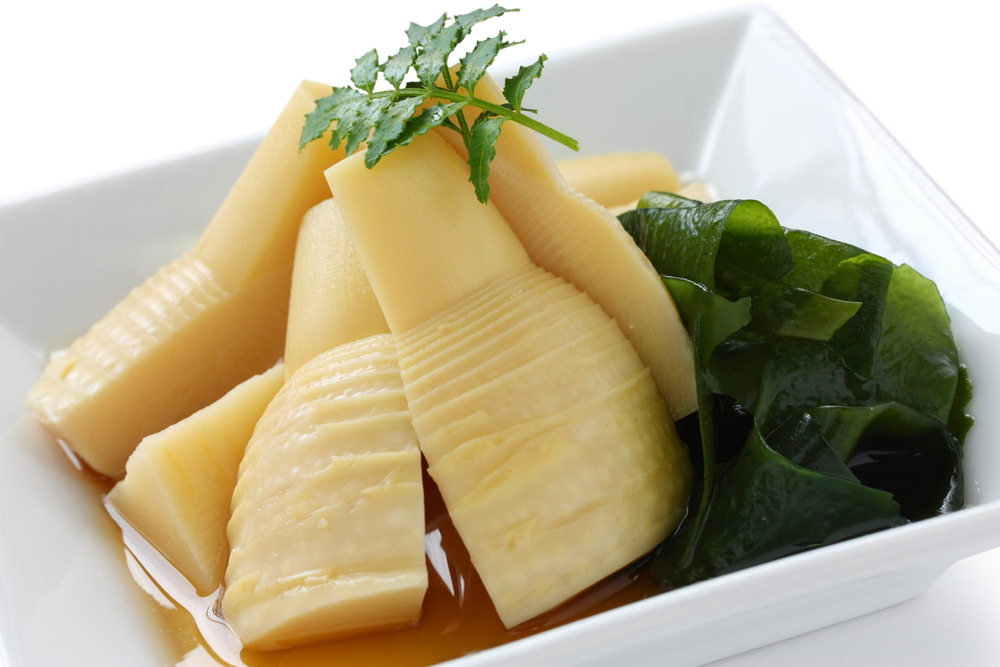 wakatakeni, simmered young bamboo shoots with wakame(seaweed), japanese traditional cuisine