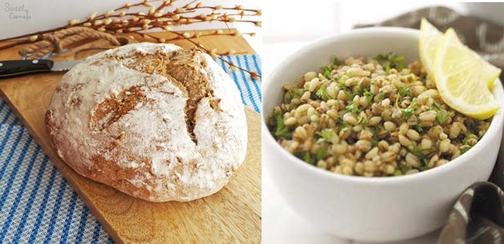 Barley bread and risotto
