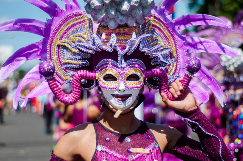 Colorful mask display during the parade in Masskara Festival at Bacolod City , Philippines