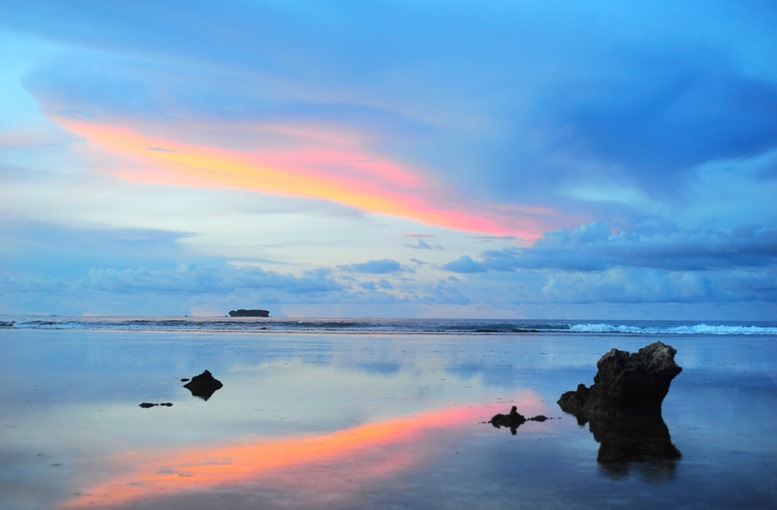 Beautiful sunset at Cloud 9, Siargao island , Philippines.