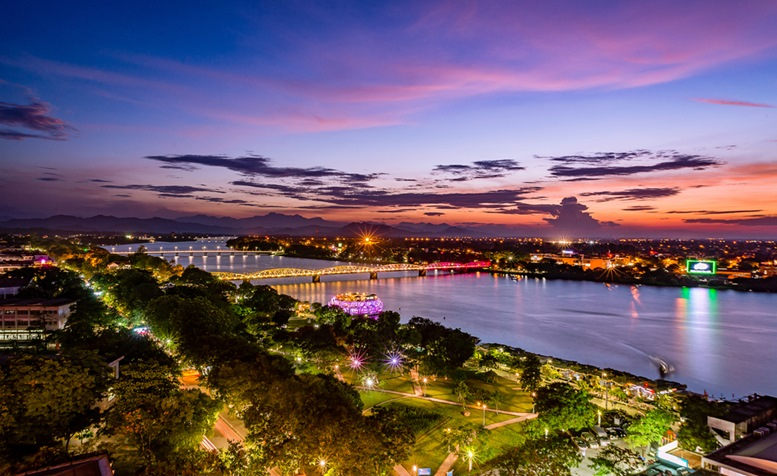 Beautiful sunset in Huong River