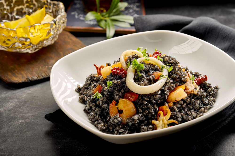 Black Rice and Fresh Seafood Dish - with Squid Rings, Shrimp and Cuttlefish