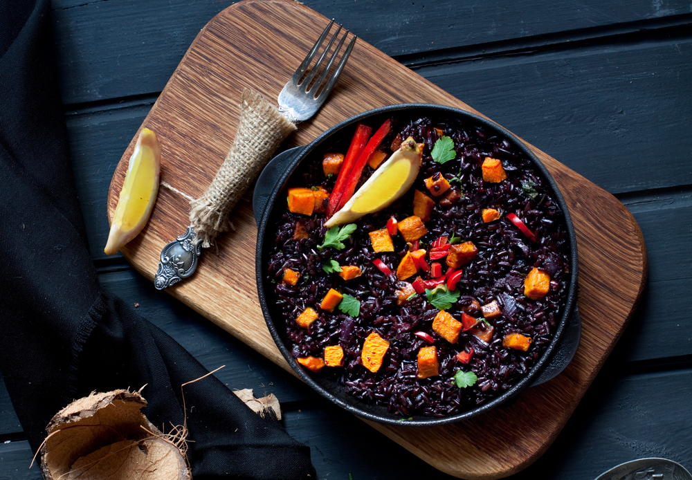 Black rice paella with pumpkin