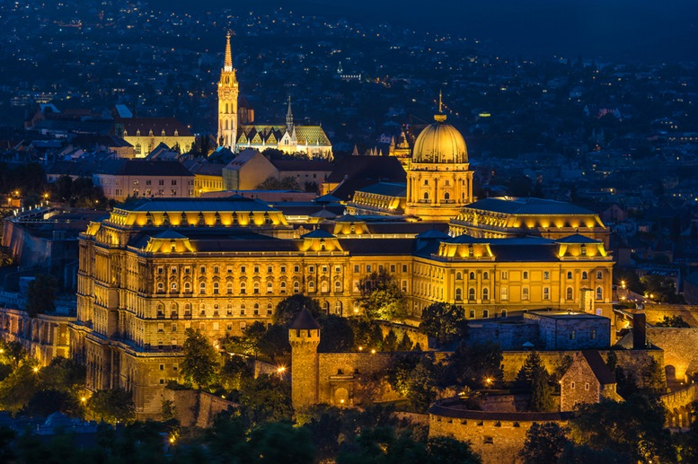 Buda Castle as seen from Gellert Hill in Budapest (night view)
