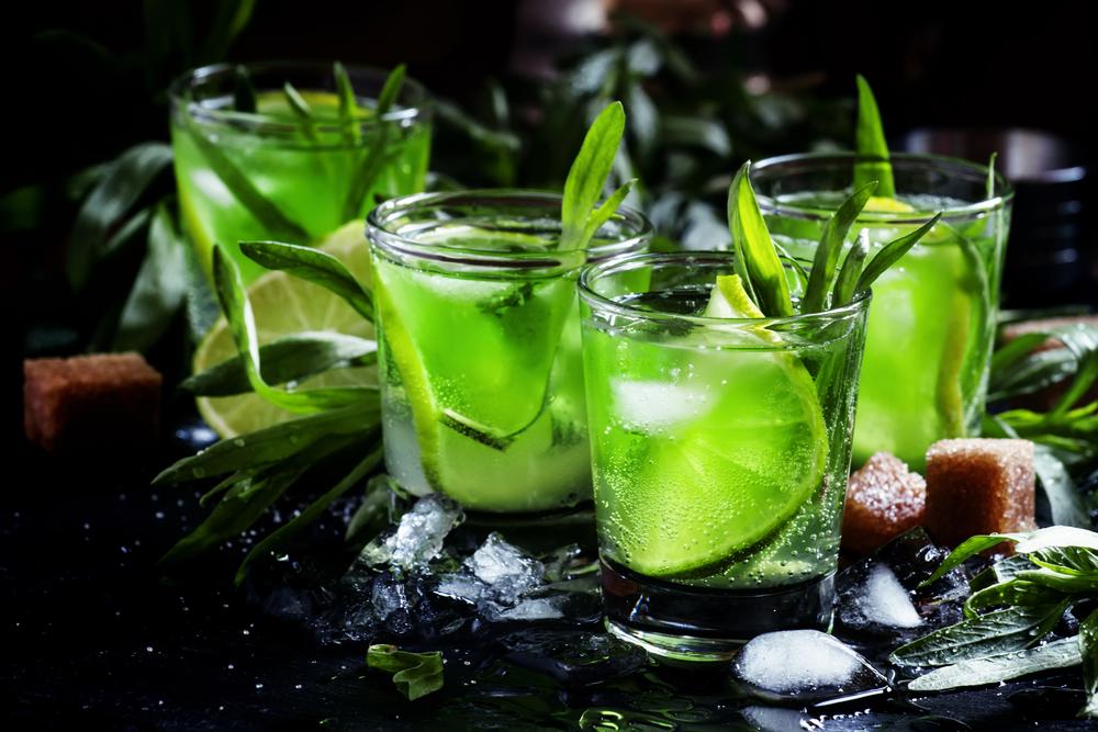 Capri Alcoholic cocktail with vodka, lime juice, soda, tarragon