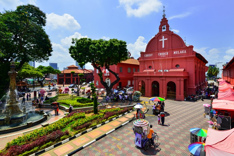 Christ Church & Dutch Square in Malacca City, Malaysia. It was built in 1753 by Dutch & is the oldest 18th century Protestant church in Malaysia.
