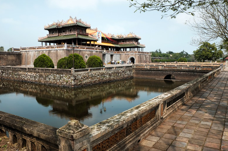 Citadel, an culture heritage with Hoang Thanh (Imperial City),Tu Cam Thanh (Forbidden City), Dai Noi (Inner city), ngo mon (noon gate), ancient architecture in Vietnam