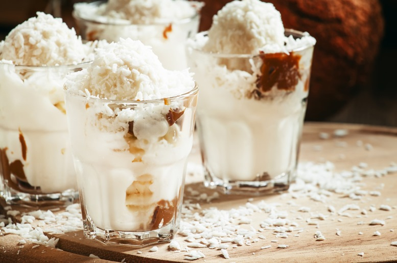 Coconut Milkshake with Vanilla Ice Cream (chocolate or Caramel sauce can be requested)