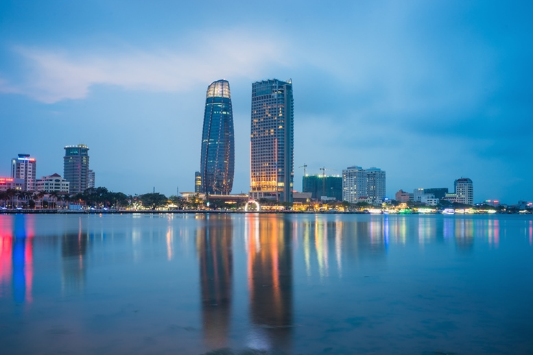 Da Nang panorama view by Han river by twilight period.