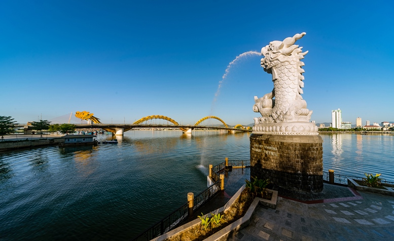 Dragon Statue and Dragon Bridge in Danang City, Vietnam