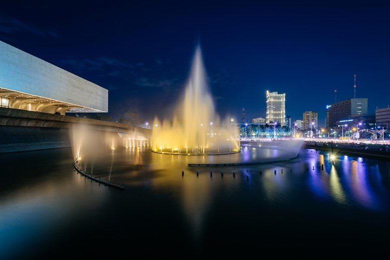 Fountain outside the Cultural Center of the Philippines at night, in Pasay, Metro Manila, The Philippines.
