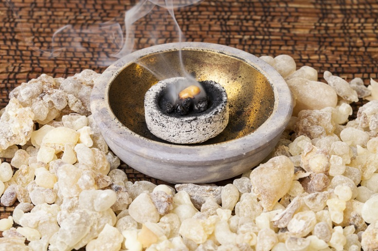 Frankincense burning on a hot coal. 2