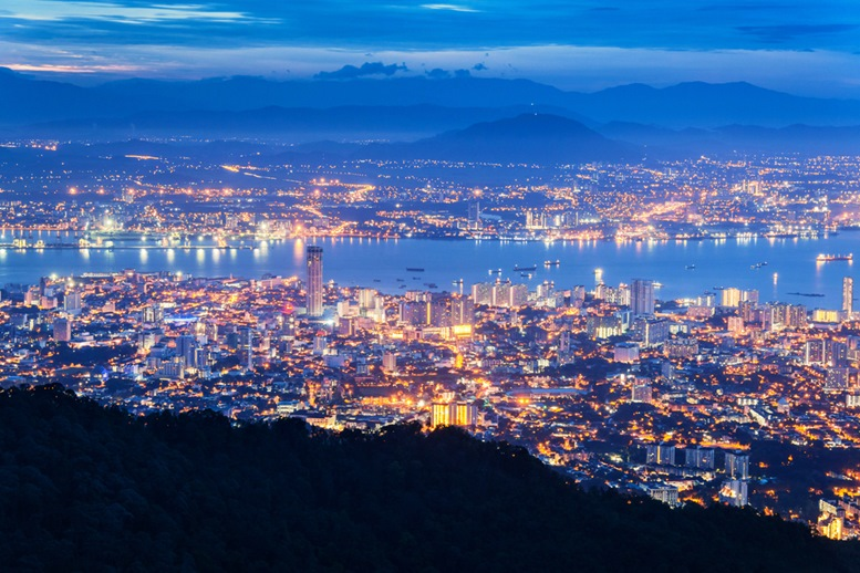 George Town city view from Penang Hill (Night View)