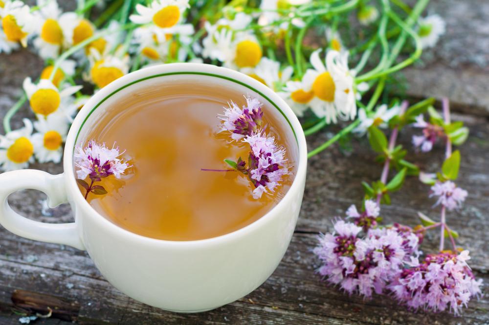 Healthy life-saving herbal tea with Marjoram