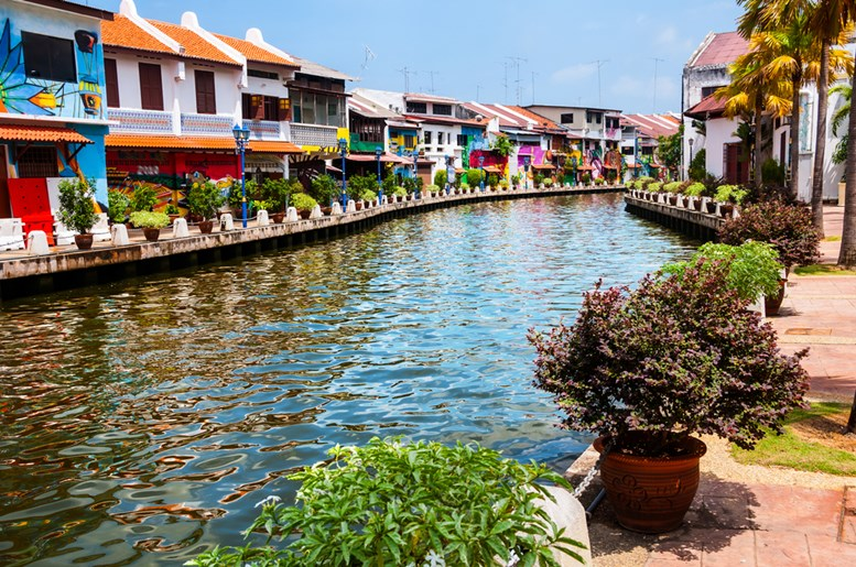 Historical part of the old malaysian town Malacca, Malaysia.