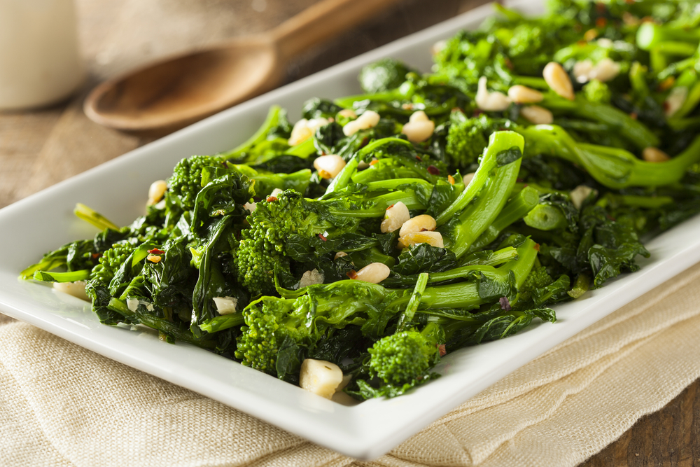 Homemade Sauteed Green Broccoli Rabe with Garlic and Nuts