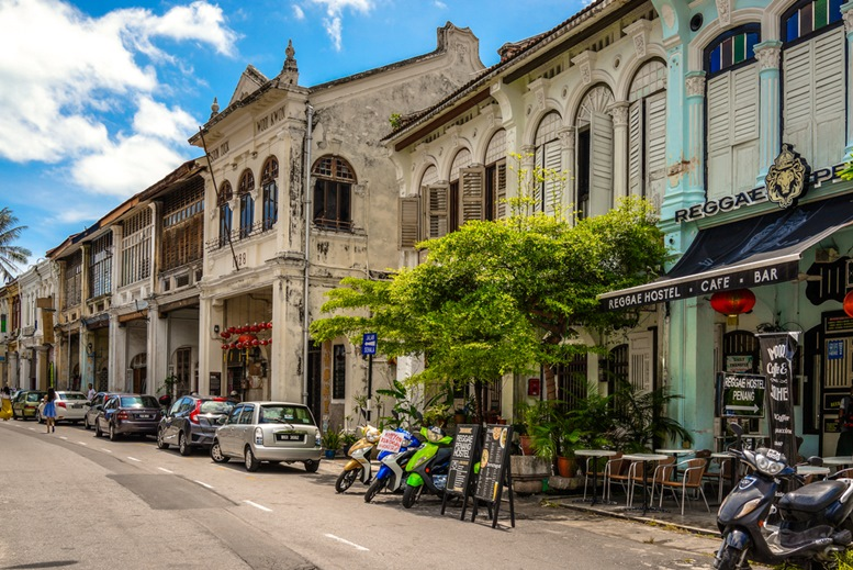 Love lane, Penang's backpacker's street fills with budget hotels and coffee shops.