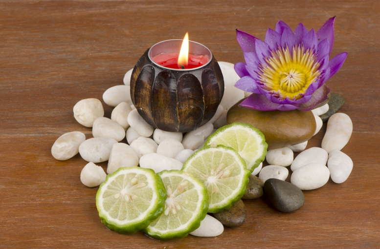 Ma-krut or Kaffir lime or leech lime or Mauritius Papeda or Bergamot