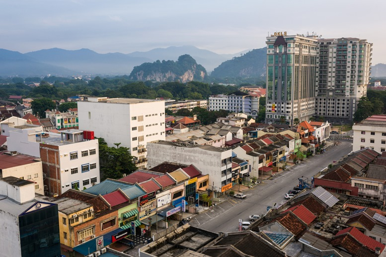 Morning view of Ipoh town with modern and historical architecture.