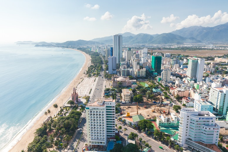 Panoramic daytime view of Nha Trang city, popular tourist destination in Vietnam