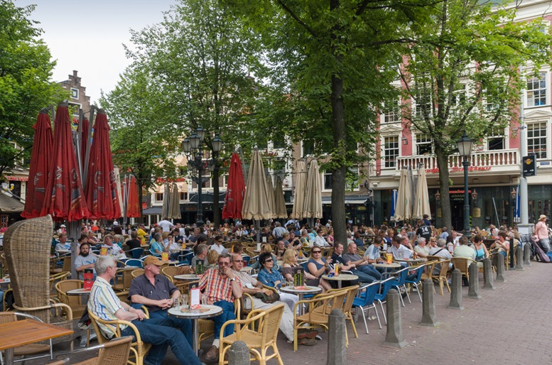 People sitting at terraces at Leidseplein