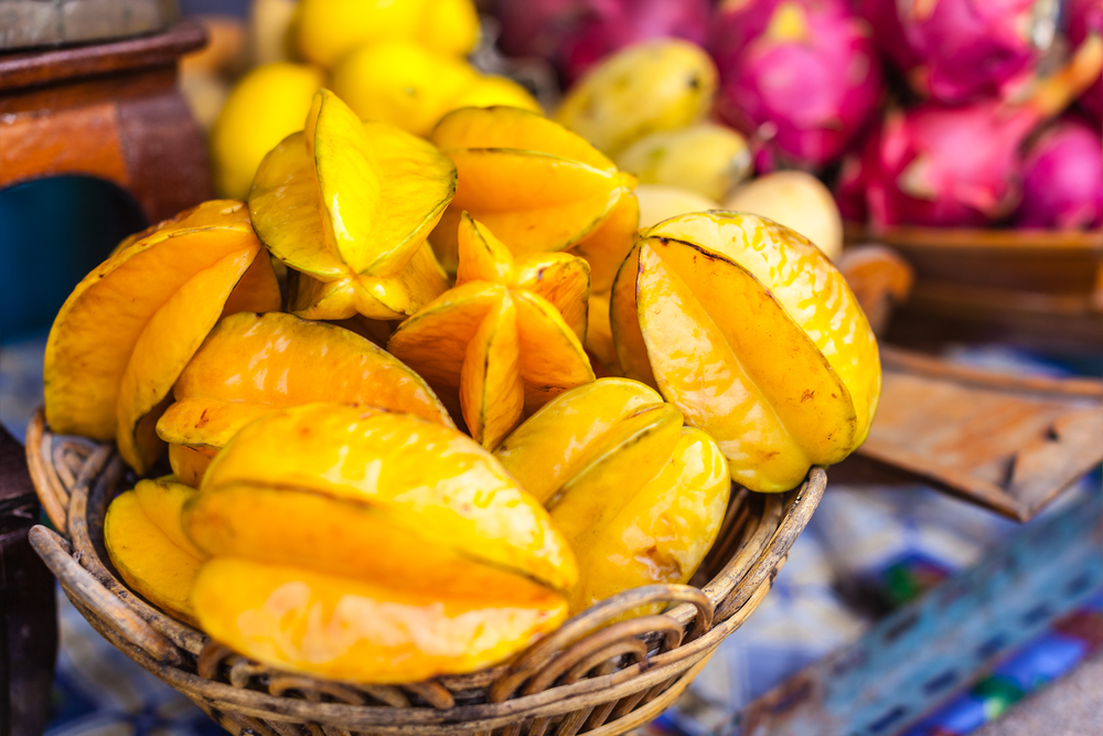 Ripe Yellow Starfruit in basket