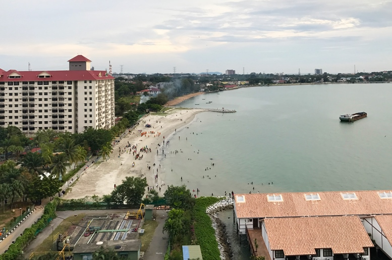 Scenic aerial panorama view of Port Dickson beach