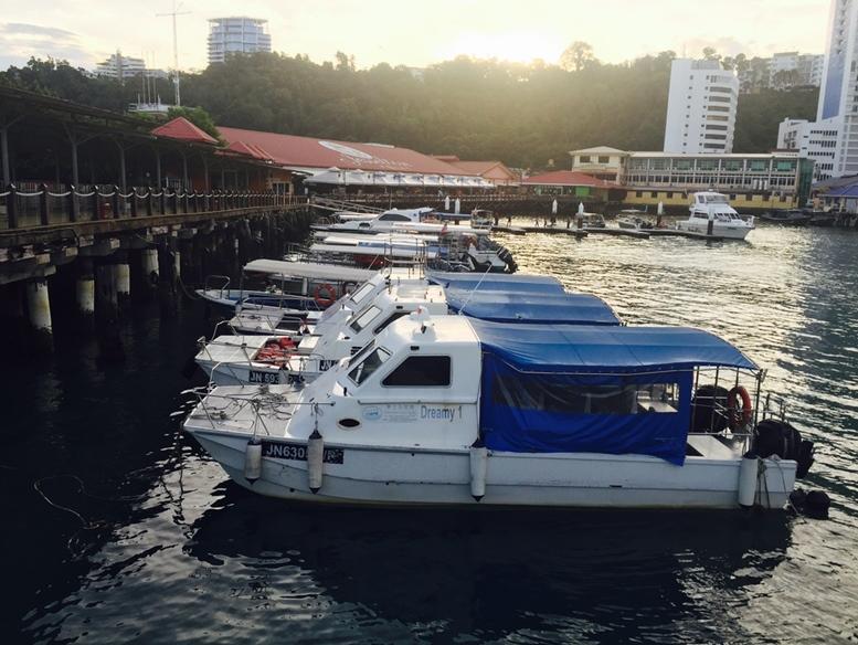 Speedboats at Jesselton Point jetty, Kota Kinabalu, Sabah.