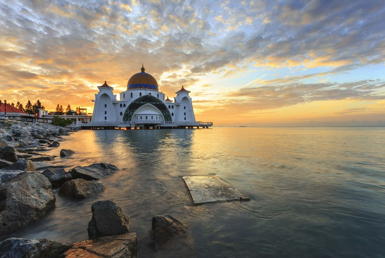 Strait mosque during sunrise in Malacca