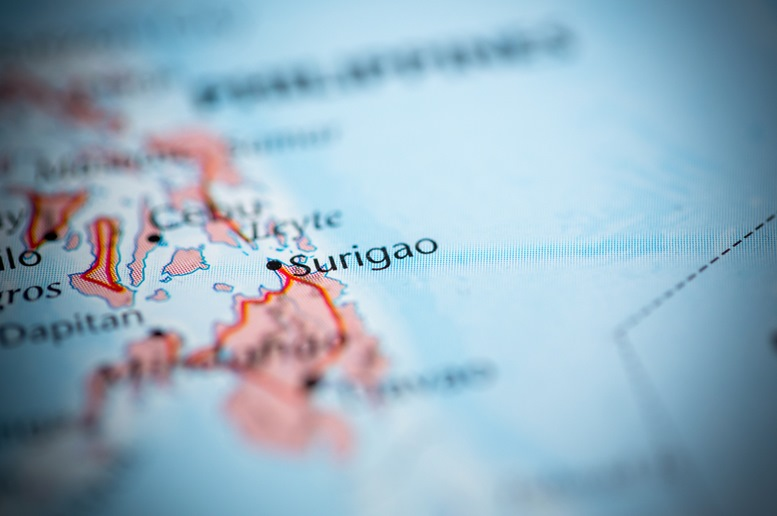 Surigao in the map of Philippines
