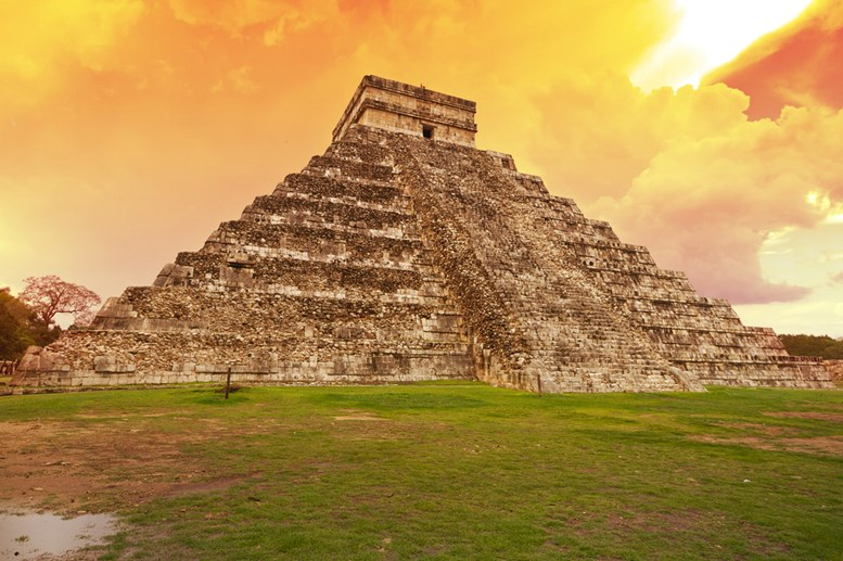 The Aztec culture - Kukulkan pyramid in Chichen Itza, Mexico
