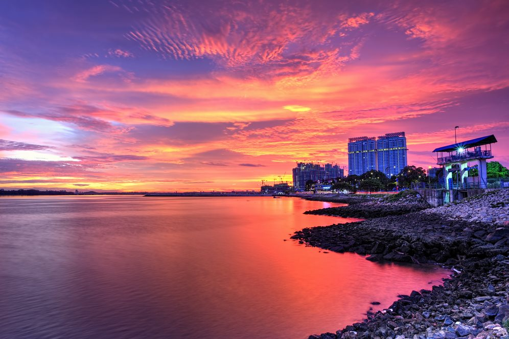 The view of burning cloud over Danga Bay ,Johor Bahru, Malaysia - Featured Image