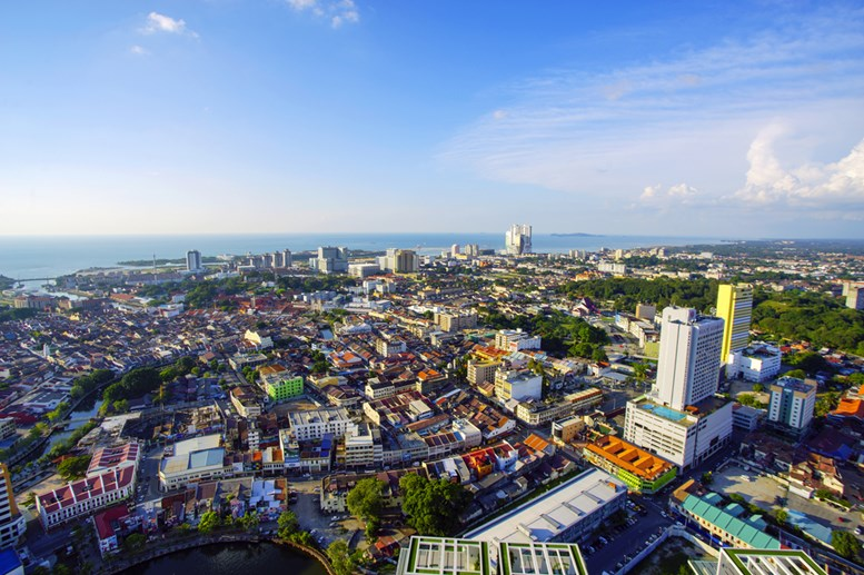 Top view of beautiful Malacca town. Malacca has been listed as a UNESCO World Heritage Site since 7 July 2008.