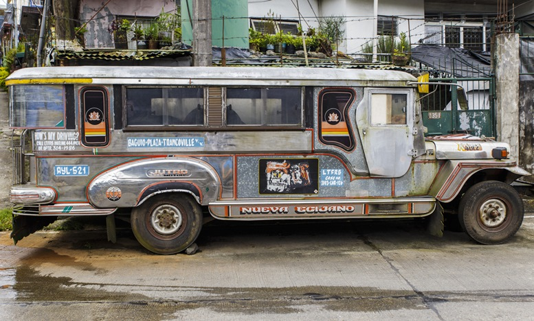Typical jeepney of colors still circulating on the roads of Bacolod city