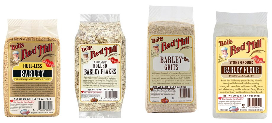 Various types of barley grains and related products