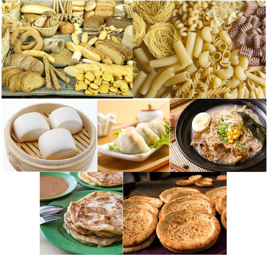 Various types of wheat-based food products in western and eastern cultures.