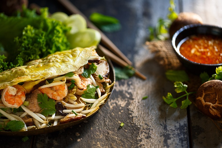 Vietnamese Crepes - stuffed with vegetables, meat and seafood