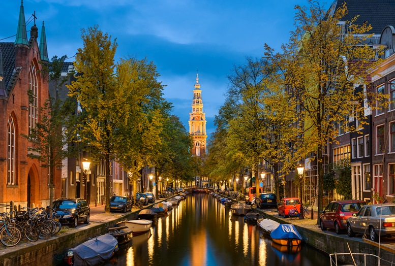 View of a church and a canal in Amsterdam