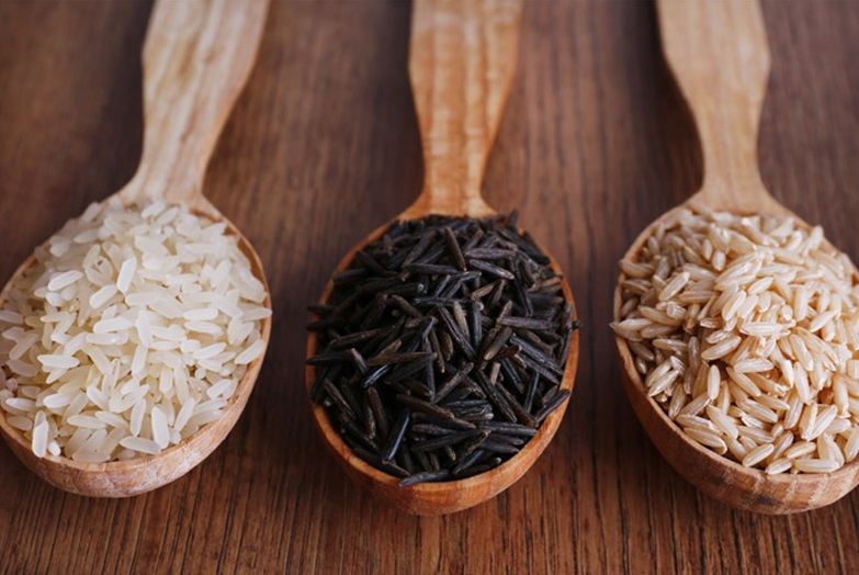 White Rice, Black Rice and Brown Rice