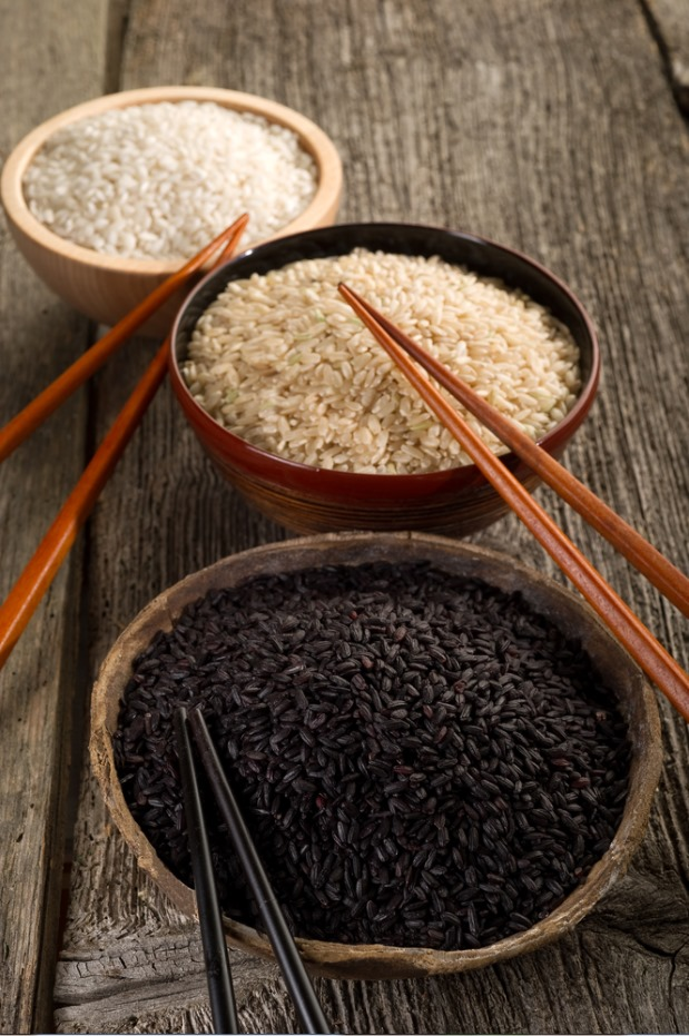 White rice vs. brown rice and black rice