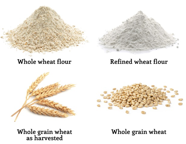 Whole wheat flour vs. refined wheat flour.