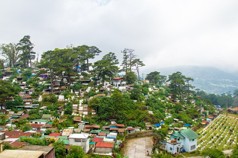 colorful above-ground cemetery in the mountain top city of Baguio, Philippines