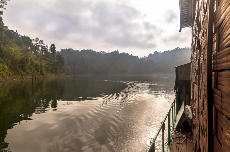 lake view from a moving boathouse at Royal Belum State Park, Grik Perak, Malaysia.