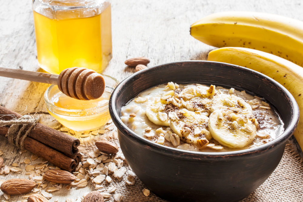 oatmeal porridge with honey, banana, cinnamon and nuts.