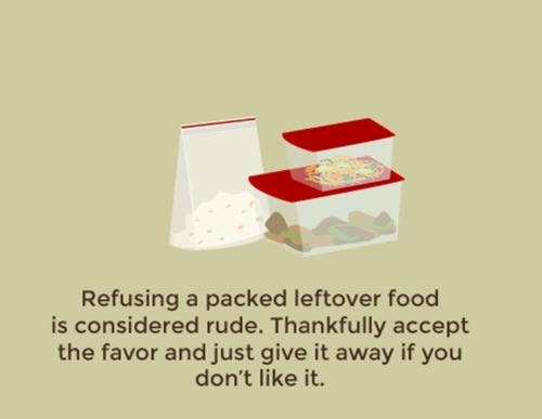 Accept packed leftover food gracefully