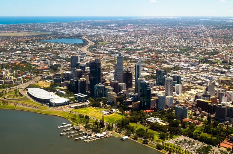 Aerial view of Perth city