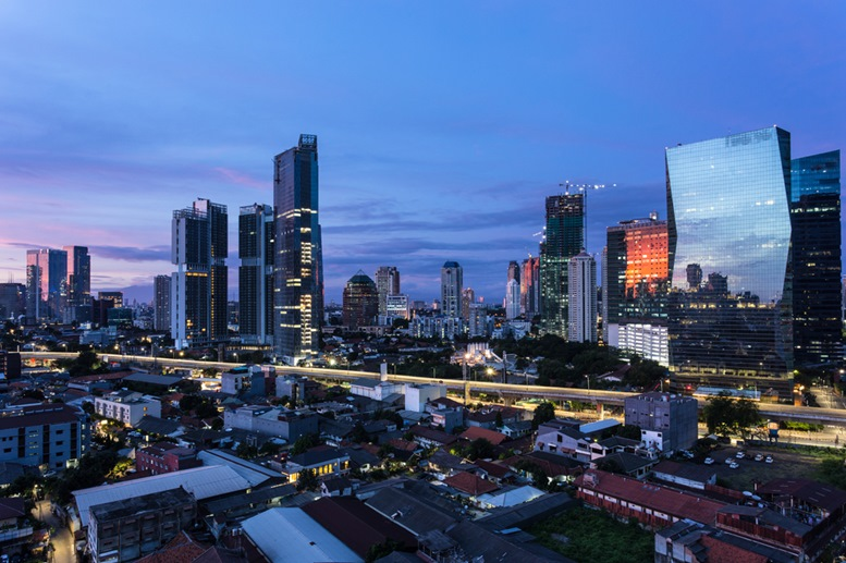 Aerial view of sunrise over the Kuningan business district of Jakarta
