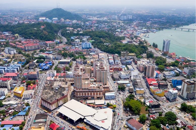 Aerial view of the city of Kuala Terengganu, Malaysia