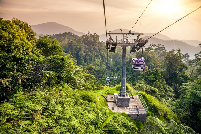 Beautiful Sunset. Cable Cars Leading to and leaving off Genting Highland